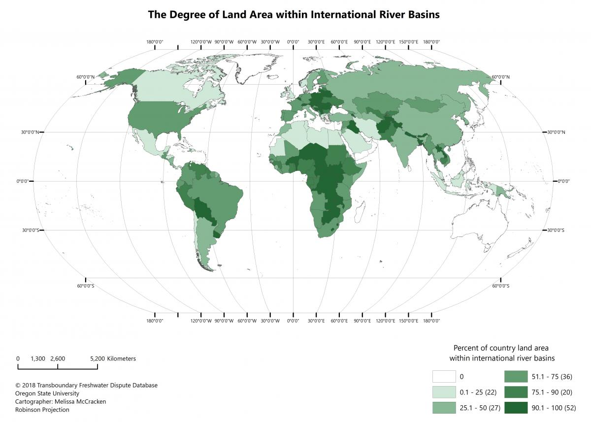 Degree of land area within international river basins